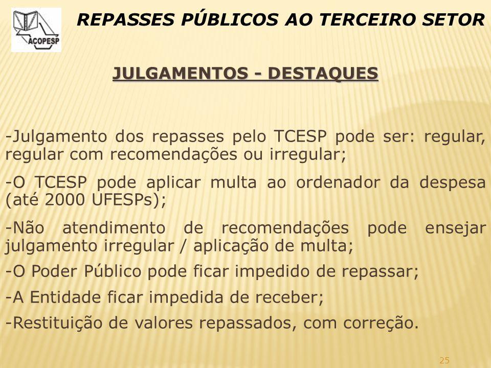 25 REPASSES PÚBLICOS AO TERCEIRO SETOR JULGAMENTOS - DESTAQUES -Julgamento dos repasses pelo TCESP pode ser: regular, regular com recomendações ou irr