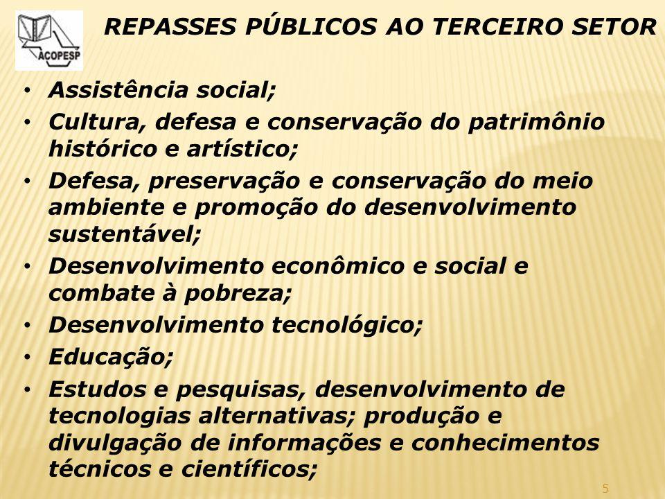 5 REPASSES PÚBLICOS AO TERCEIRO SETOR Assistência social; Cultura, defesa e conservação do patrimônio histórico e artístico; Defesa, preservação e con