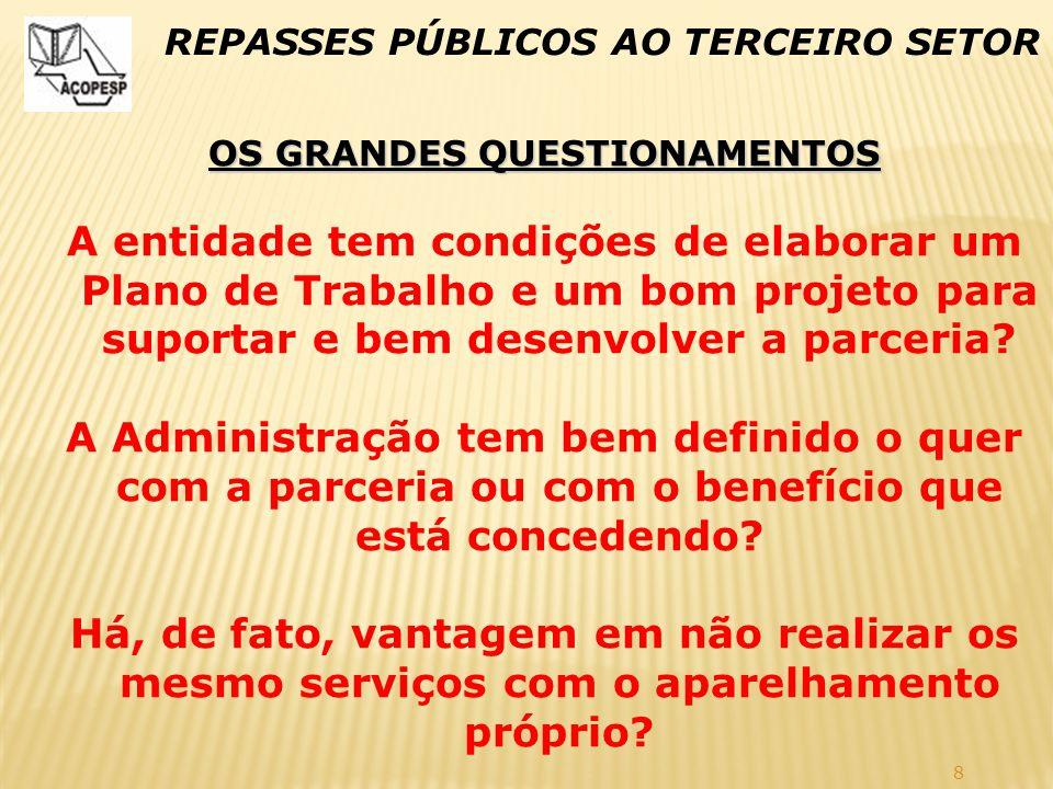 8 REPASSES PÚBLICOS AO TERCEIRO SETOR OS GRANDES QUESTIONAMENTOS A entidade tem condições de elaborar um Plano de Trabalho e um bom projeto para supor