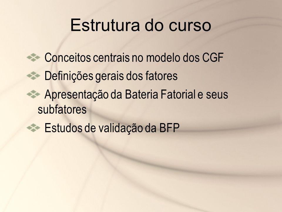 Estrutura do curso Conceitos centrais no modelo dos CGF Definições gerais dos fatores Apresentação da Bateria Fatorial e seus subfatores Estudos de va