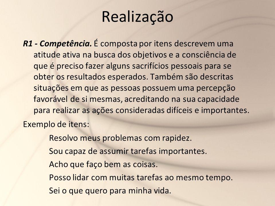 Realização R1 - Competência. É composta por itens descrevem uma atitude ativa na busca dos objetivos e a consciência de que é preciso fazer alguns sac