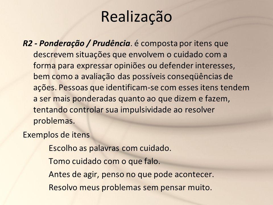 Realização R2 - Ponderação / Prudência. é composta por itens que descrevem situações que envolvem o cuidado com a forma para expressar opiniões ou def