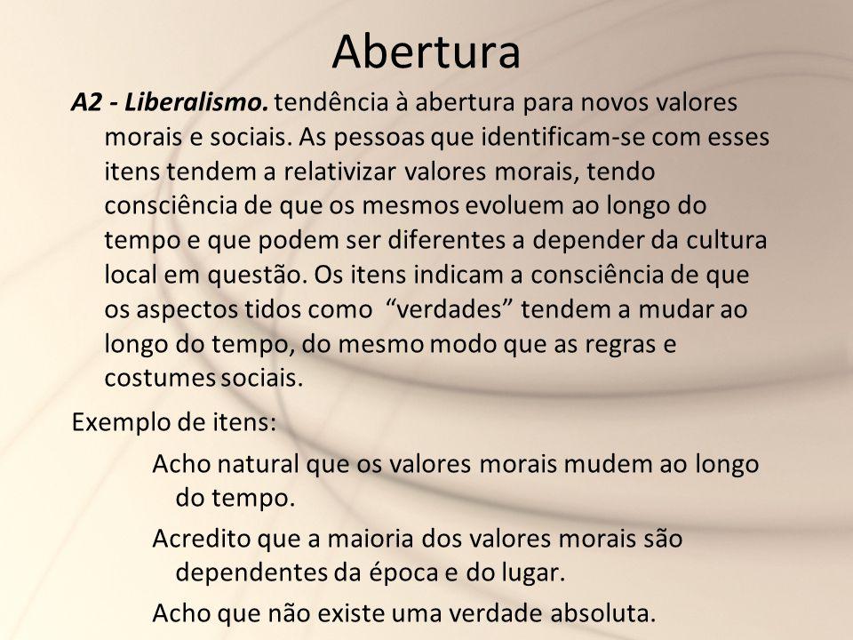 Abertura A2 - Liberalismo. tendência à abertura para novos valores morais e sociais. As pessoas que identificam-se com esses itens tendem a relativiza