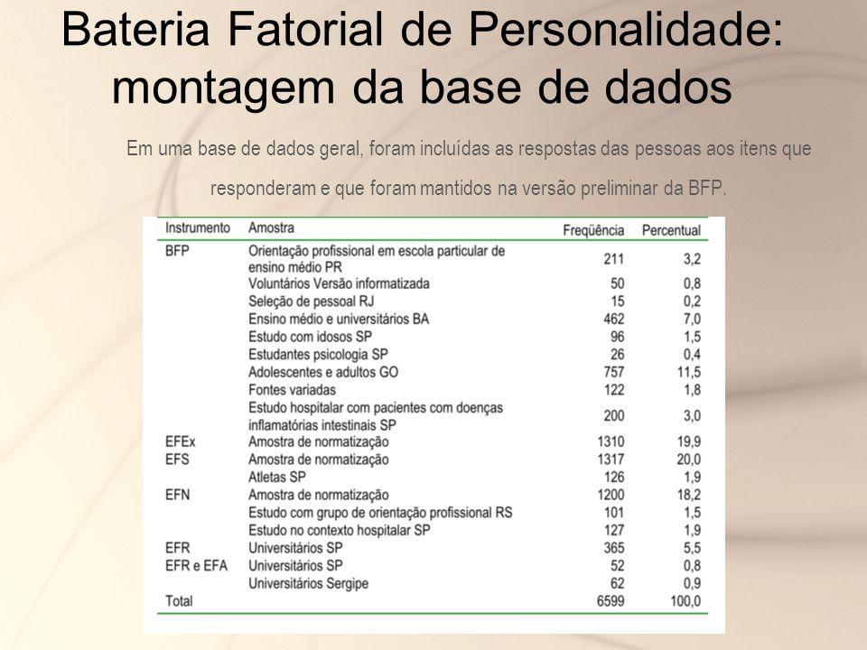 Bateria Fatorial de Personalidade: montagem da base de dados Em uma base de dados geral, foram incluídas as respostas das pessoas aos itens que respon