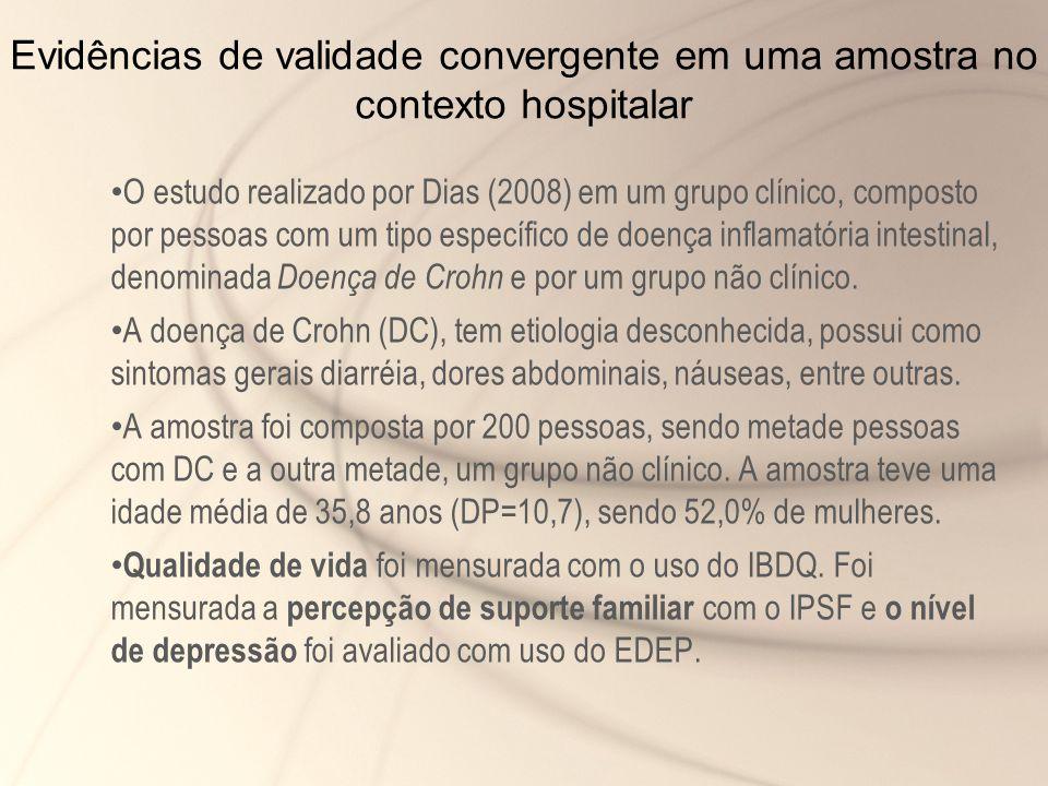 Evidências de validade convergente em uma amostra no contexto hospitalar O estudo realizado por Dias (2008) em um grupo clínico, composto por pessoas