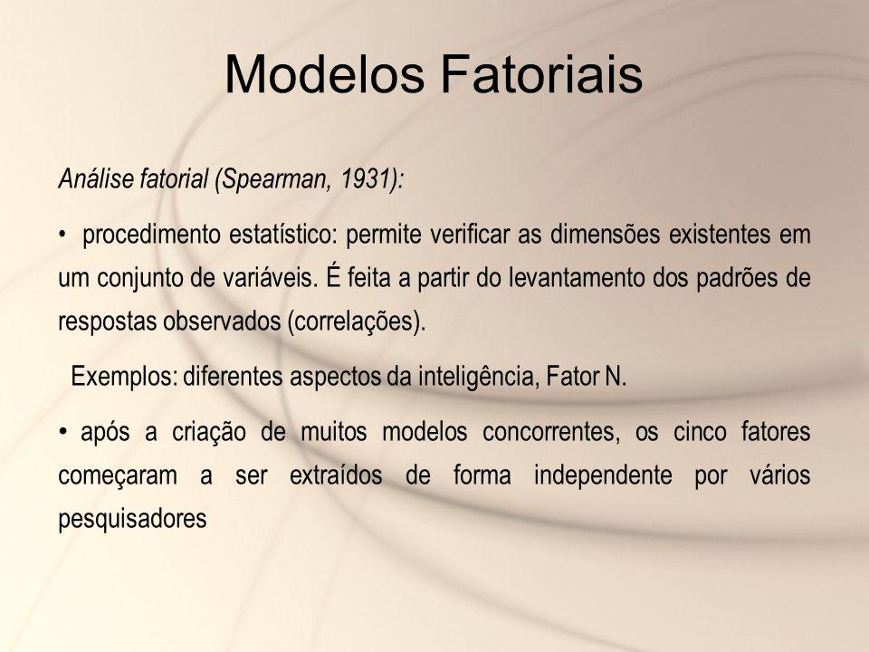 Modelos Fatoriais Análise fatorial (Spearman, 1931): procedimento estatístico: permite verificar as dimensões existentes em um conjunto de variáveis.