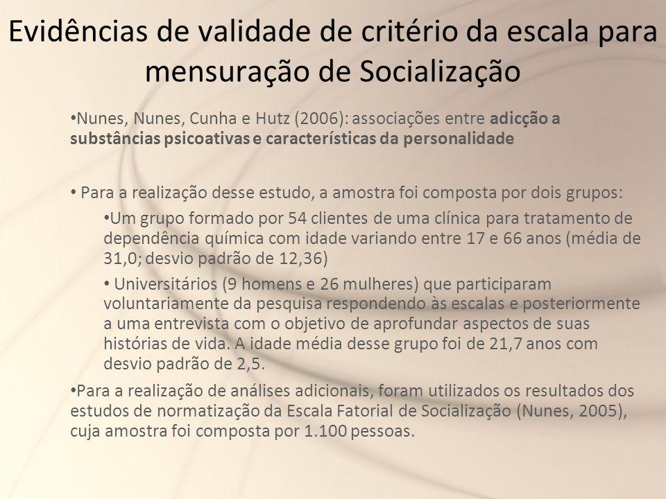 Evidências de validade de critério da escala para mensuração de Socialização Nunes, Nunes, Cunha e Hutz (2006): associações entre adicção a substância