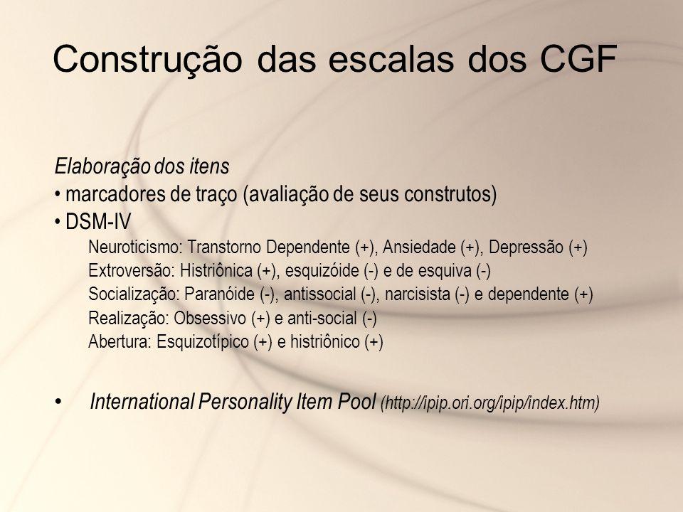 Elaboração dos itens marcadores de traço (avaliação de seus construtos) DSM-IV Neuroticismo: Transtorno Dependente (+), Ansiedade (+), Depressão (+) E