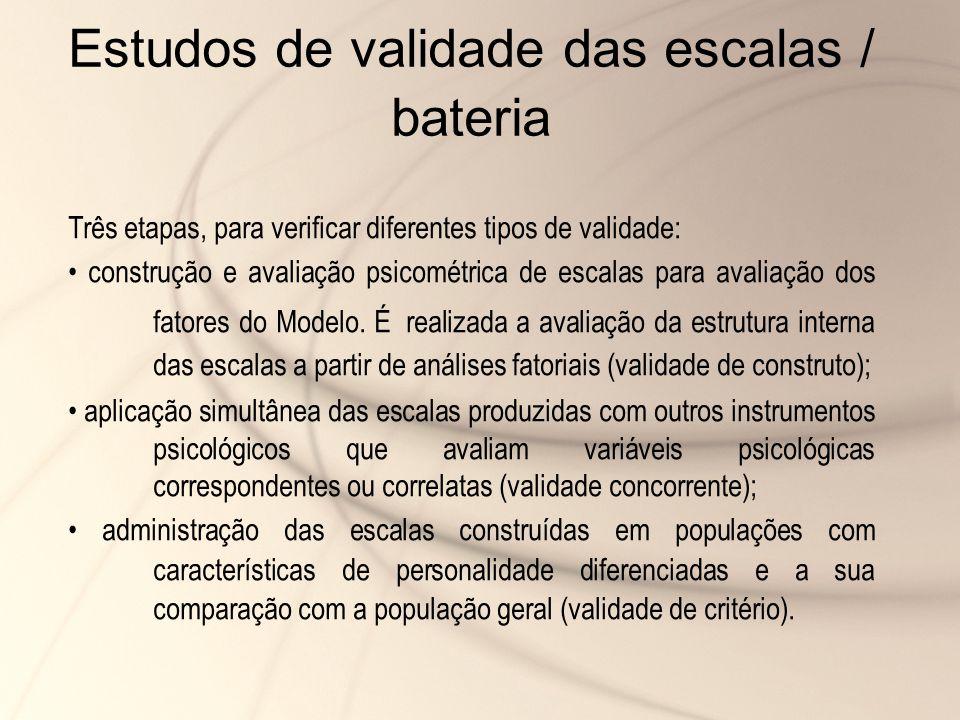 Estudos de validade das escalas / bateria Três etapas, para verificar diferentes tipos de validade: construção e avaliação psicométrica de escalas par