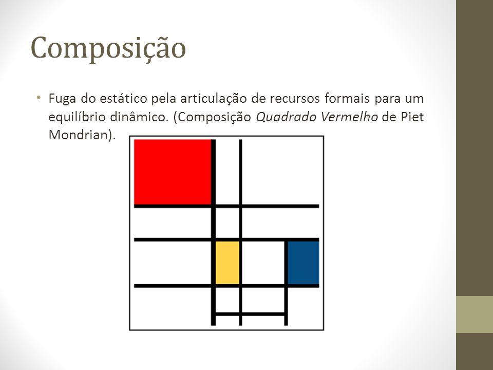 Composição Fuga do estático pela articulação de recursos formais para um equilíbrio dinâmico. (Composição Quadrado Vermelho de Piet Mondrian).