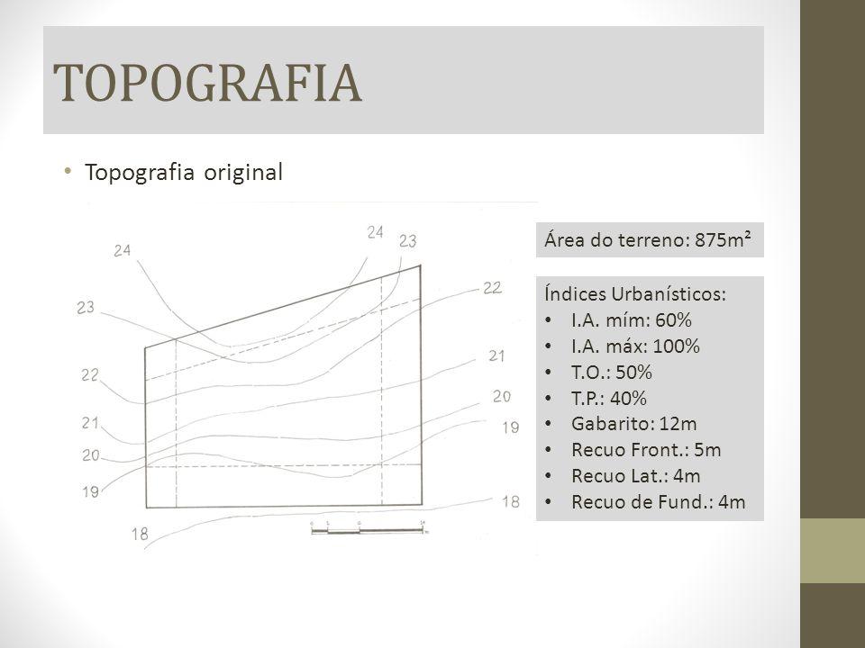 TOPOGRAFIA Topografia original Área do terreno: 875m² Índices Urbanísticos: I.A. mím: 60% I.A. máx: 100% T.O.: 50% T.P.: 40% Gabarito: 12m Recuo Front