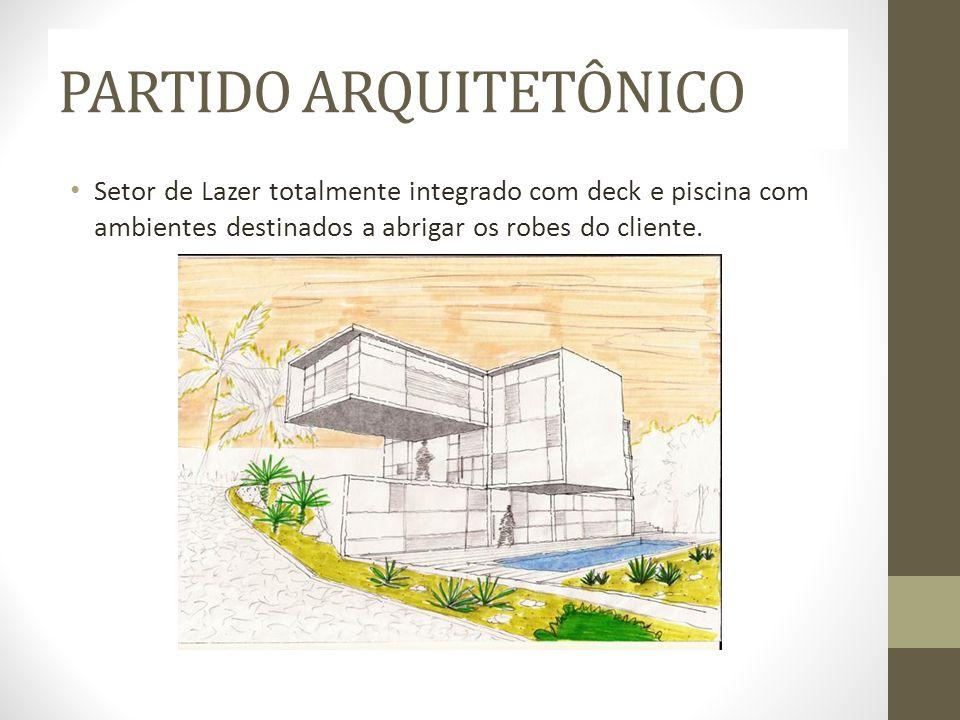 PARTIDO ARQUITETÔNICO Setor de Lazer totalmente integrado com deck e piscina com ambientes destinados a abrigar os robes do cliente.