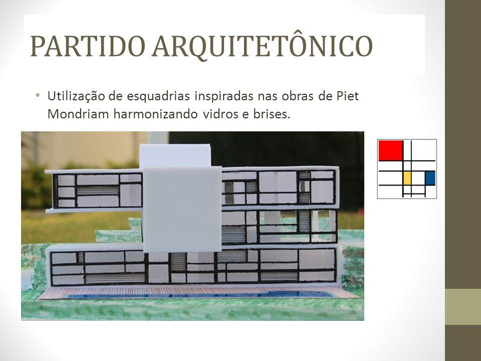 PARTIDO ARQUITETÔNICO Utilização de esquadrias inspiradas nas obras de Piet Mondriam harmonizando vidros e brises.