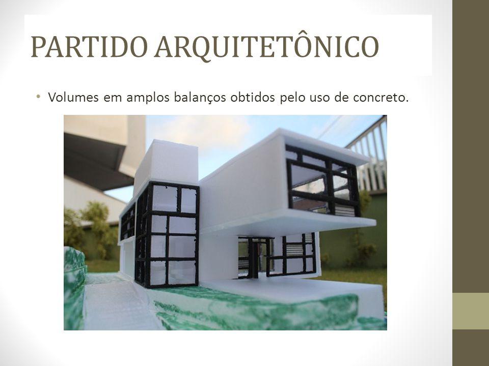 PARTIDO ARQUITETÔNICO Volumes em amplos balanços obtidos pelo uso de concreto.