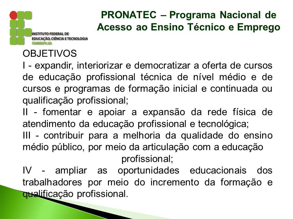 PRONATEC – Programa Nacional de Acesso ao Ensino Técnico e Emprego OBJETIVOS I - expandir, interiorizar e democratizar a oferta de cursos de educação