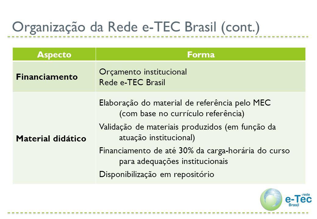 Expansão e democratização da educação profissional por meio da educação a distância Economicidade no financiamento e reuso de materiais didáticos Melhoria da qualidade da ação educacional Atuação em rede