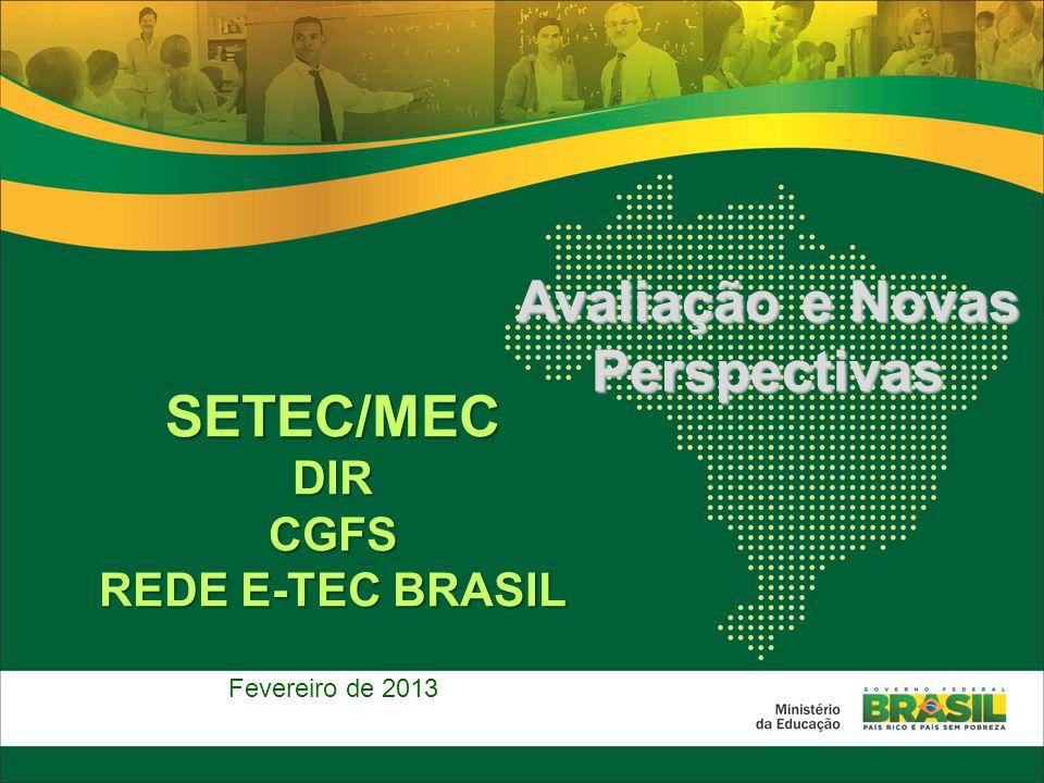 SETEC/MECDIRCGFS REDE E-TEC BRASIL Fevereiro de 2013 Avaliação e Novas Perspectivas