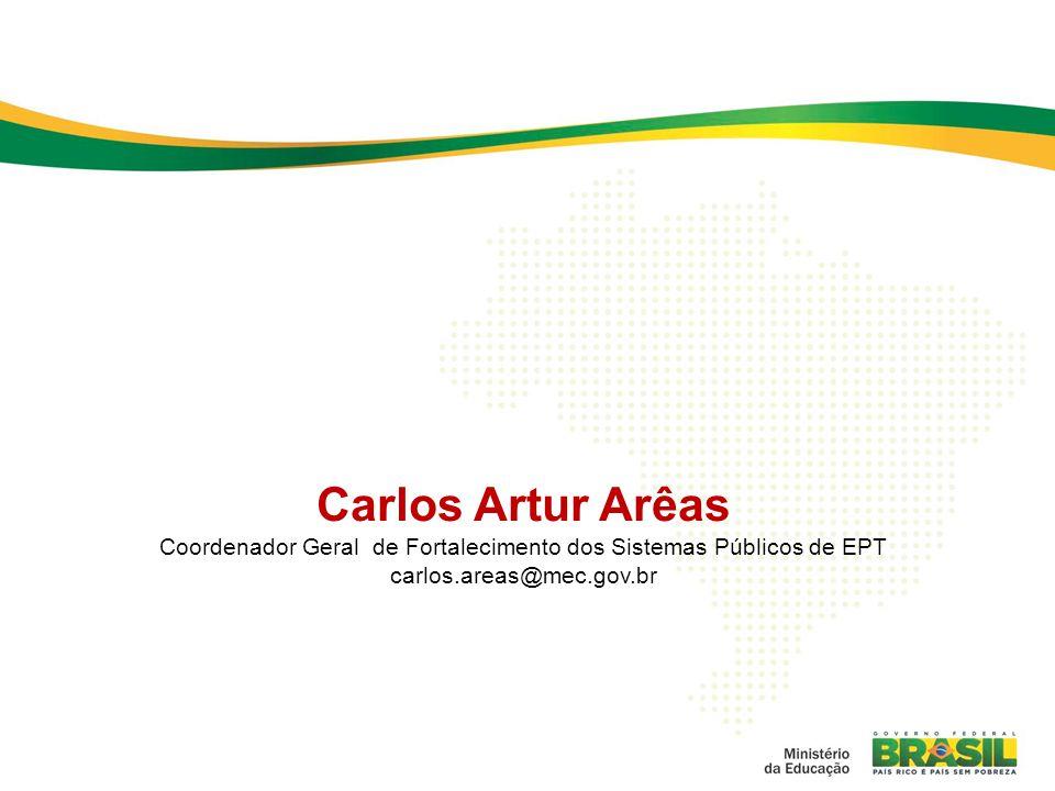 Carlos Artur Arêas Coordenador Geral de Fortalecimento dos Sistemas Públicos de EPT carlos.areas@mec.gov.br
