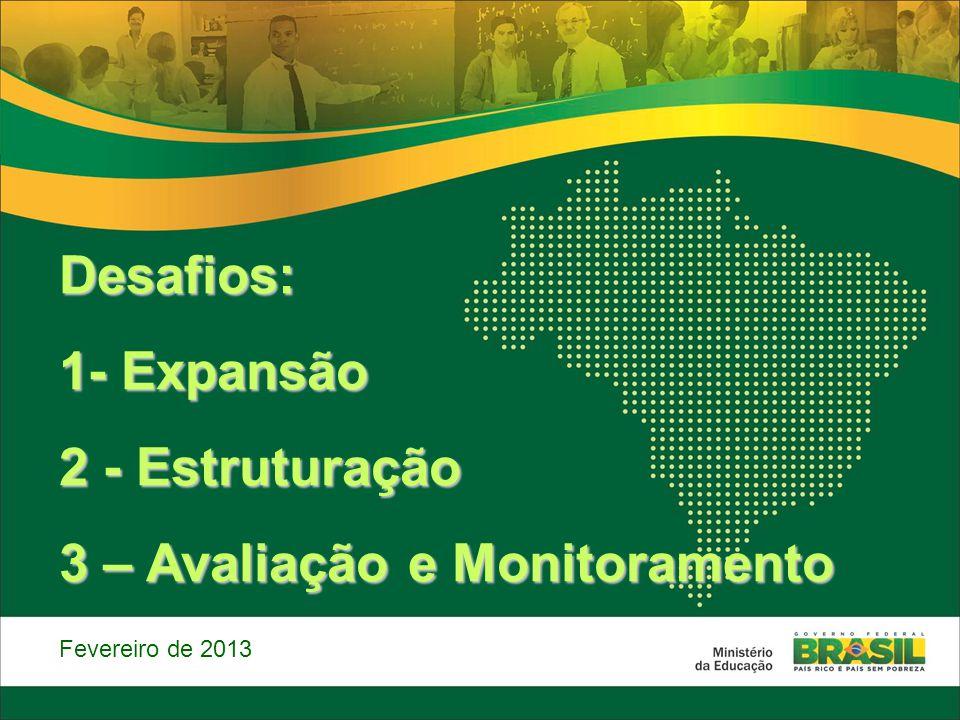 Desafios: 1- Expansão 2 - Estruturação 3 – Avaliação e Monitoramento Fevereiro de 2013
