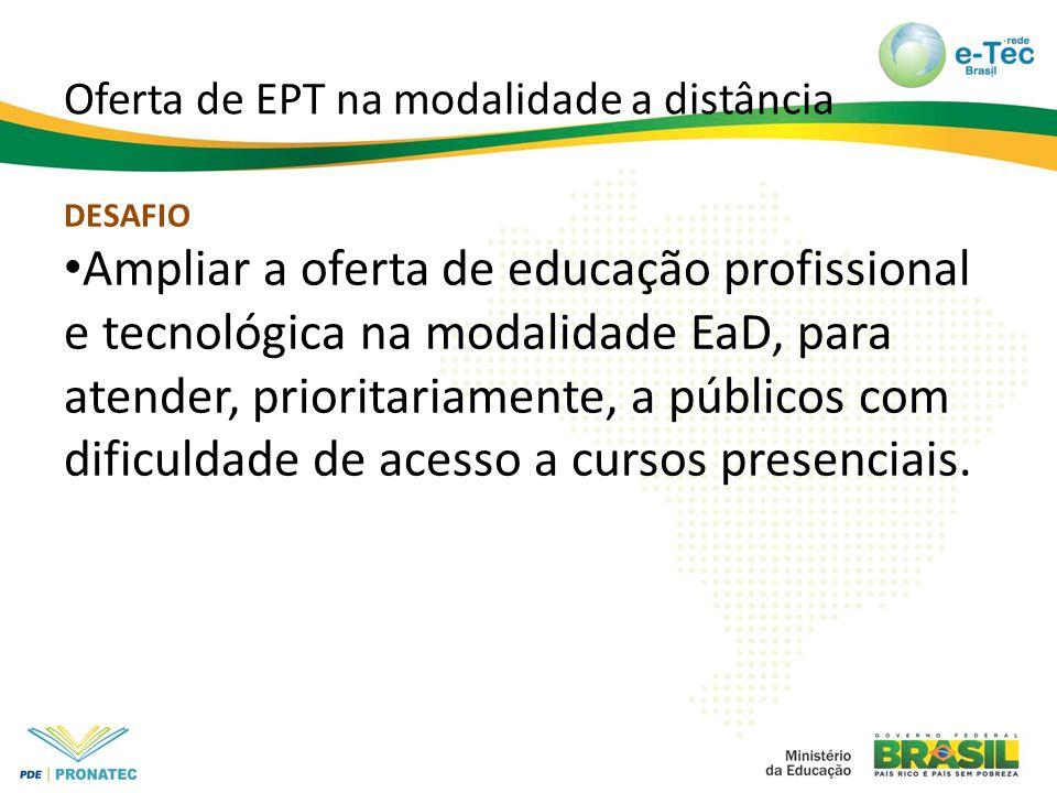 Oferta de EPT na modalidade a distância DESAFIO Ampliar a oferta de educação profissional e tecnológica na modalidade EaD, para atender, prioritariamente, a públicos com dificuldade de acesso a cursos presenciais.