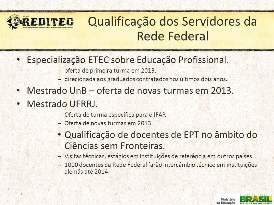 Qualificação dos Servidores da Rede Federal Especialização ETEC sobre Educação Profissional. – oferta de primeira turma em 2013. – direcionada aos gra