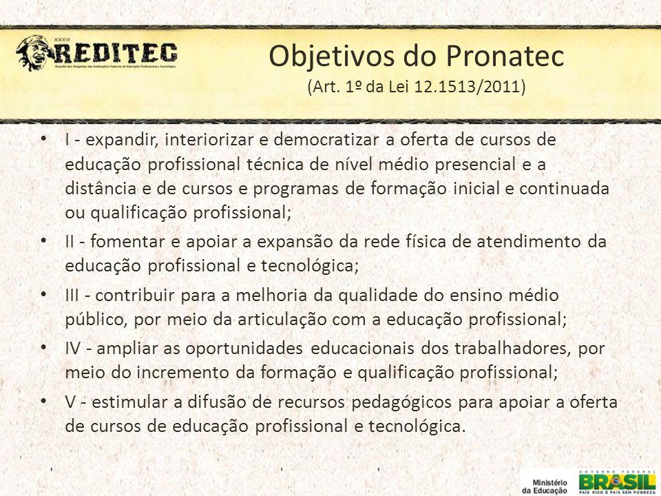 Objetivos do Pronatec (Art. 1º da Lei 12.1513/2011) I - expandir, interiorizar e democratizar a oferta de cursos de educação profissional técnica de n