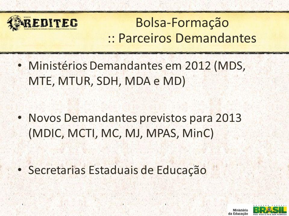 Bolsa-Formação :: Parceiros Demandantes Ministérios Demandantes em 2012 (MDS, MTE, MTUR, SDH, MDA e MD) Novos Demandantes previstos para 2013 (MDIC, M