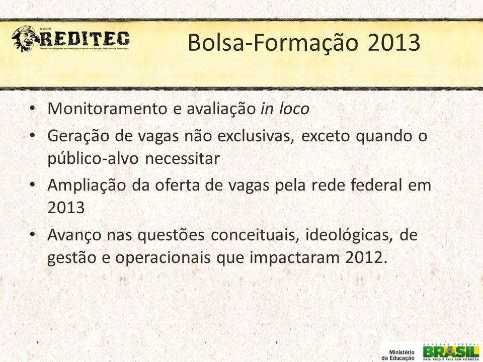 Bolsa-Formação 2013 Monitoramento e avaliação in loco Geração de vagas não exclusivas, exceto quando o público-alvo necessitar Ampliação da oferta de