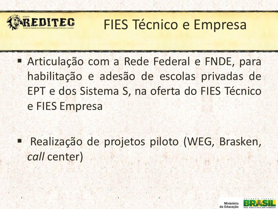 FIES Técnico e Empresa  Articulação com a Rede Federal e FNDE, para habilitação e adesão de escolas privadas de EPT e dos Sistema S, na oferta do FIE