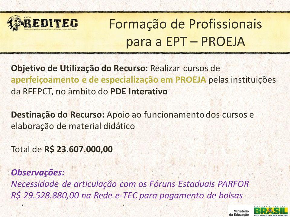 Formação de Profissionais para a EPT – PROEJA Objetivo de Utilização do Recurso: Realizar cursos de aperfeiçoamento e de especialização em PROEJA pela
