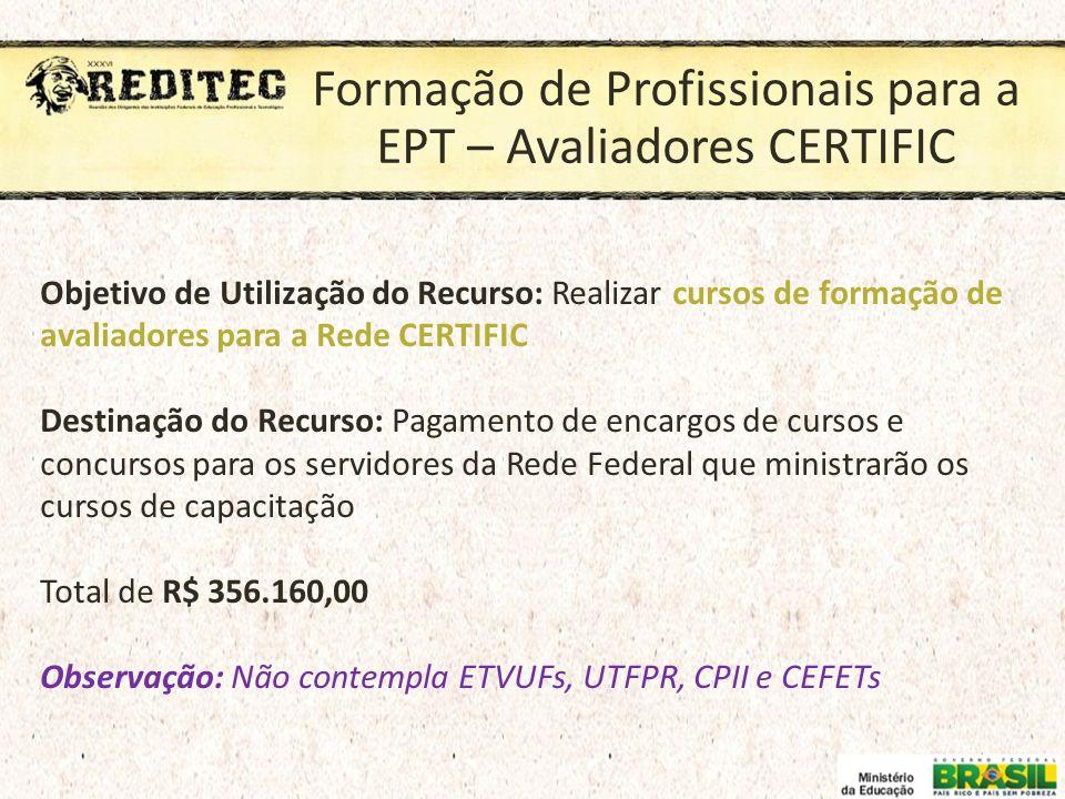 Formação de Profissionais para a EPT – Avaliadores CERTIFIC Objetivo de Utilização do Recurso: Realizar cursos de formação de avaliadores para a Rede