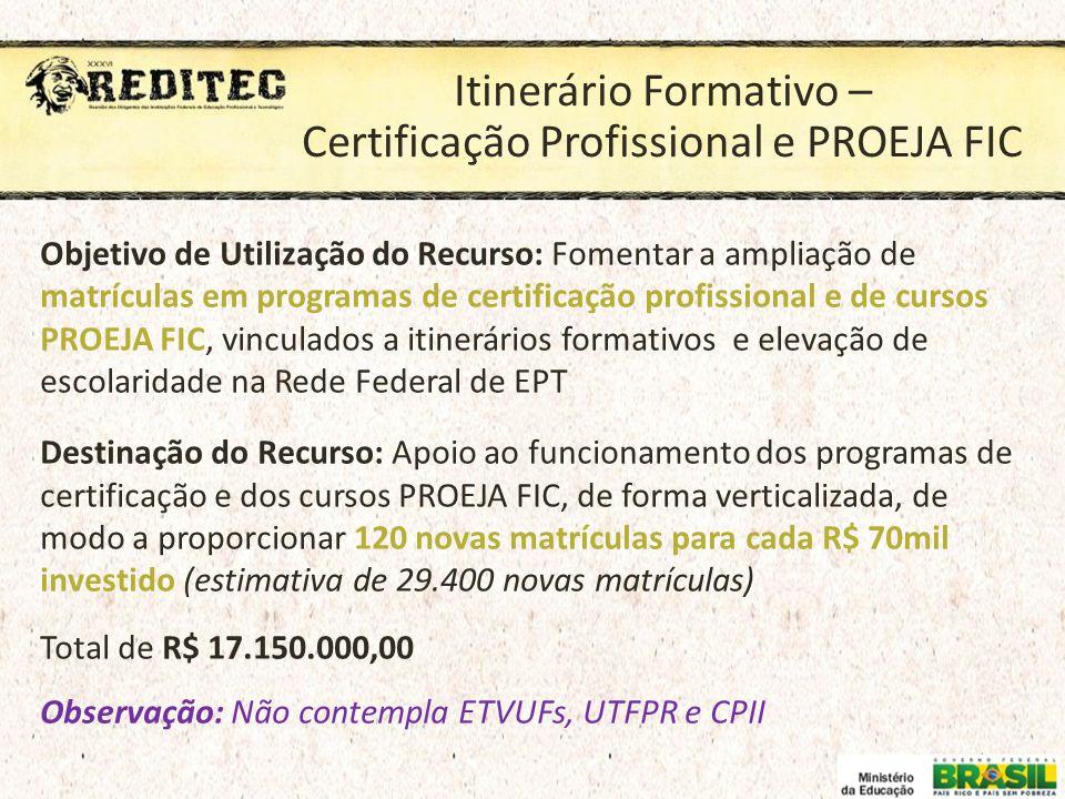 Itinerário Formativo – Certificação Profissional e PROEJA FIC Objetivo de Utilização do Recurso: Fomentar a ampliação de matrículas em programas de ce