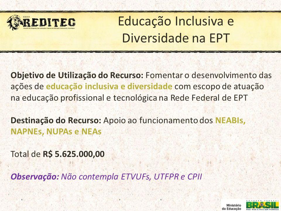 Educação Inclusiva e Diversidade na EPT Objetivo de Utilização do Recurso: Fomentar o desenvolvimento das ações de educação inclusiva e diversidade co