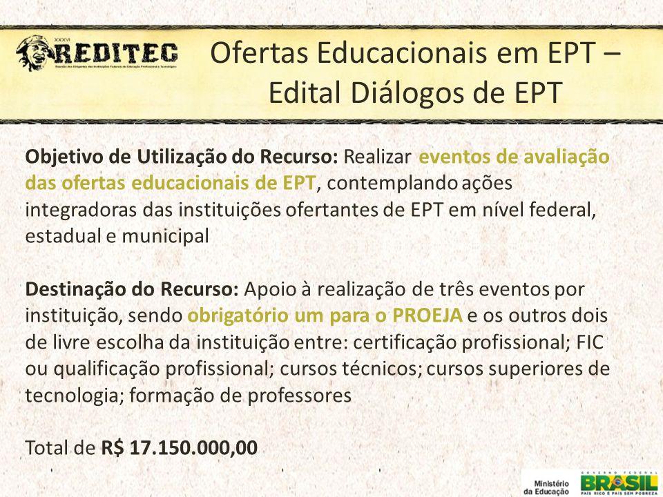 Ofertas Educacionais em EPT – Edital Diálogos de EPT Objetivo de Utilização do Recurso: Realizar eventos de avaliação das ofertas educacionais de EPT,