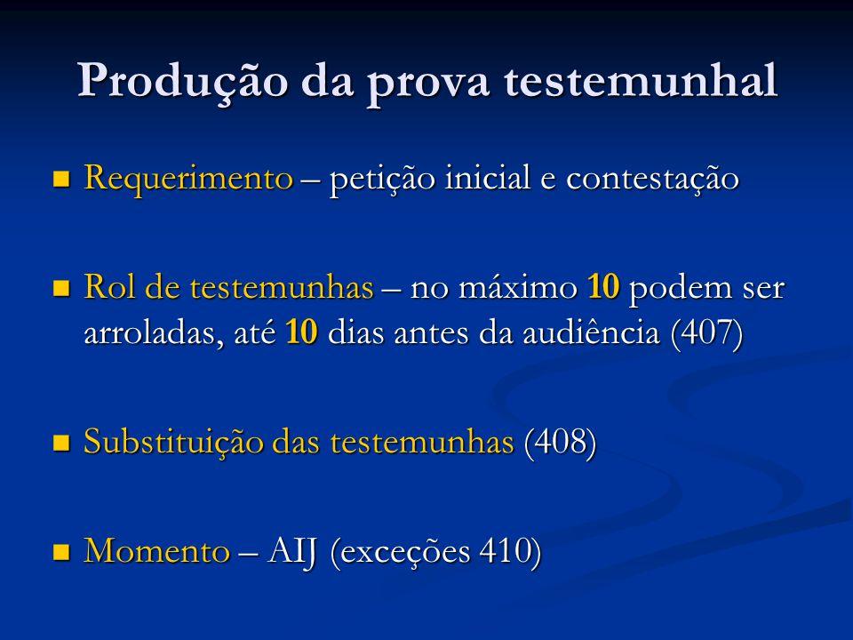 Produção da prova testemunhal Requerimento – petição inicial e contestação Requerimento – petição inicial e contestação Rol de testemunhas – no máximo 10 podem ser arroladas, até 10 dias antes da audiência (407) Rol de testemunhas – no máximo 10 podem ser arroladas, até 10 dias antes da audiência (407) Substituição das testemunhas (408) Substituição das testemunhas (408) Momento – AIJ (exceções 410) Momento – AIJ (exceções 410)