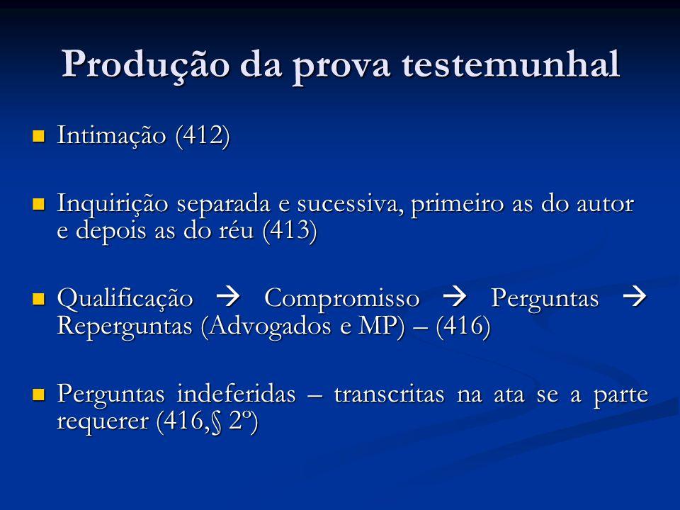 Produção da prova testemunhal Intimação (412) Intimação (412) Inquirição separada e sucessiva, primeiro as do autor e depois as do réu (413) Inquirição separada e sucessiva, primeiro as do autor e depois as do réu (413) Qualificação  Compromisso  Perguntas  Reperguntas (Advogados e MP) – (416) Qualificação  Compromisso  Perguntas  Reperguntas (Advogados e MP) – (416) Perguntas indeferidas – transcritas na ata se a parte requerer (416,§ 2º) Perguntas indeferidas – transcritas na ata se a parte requerer (416,§ 2º)