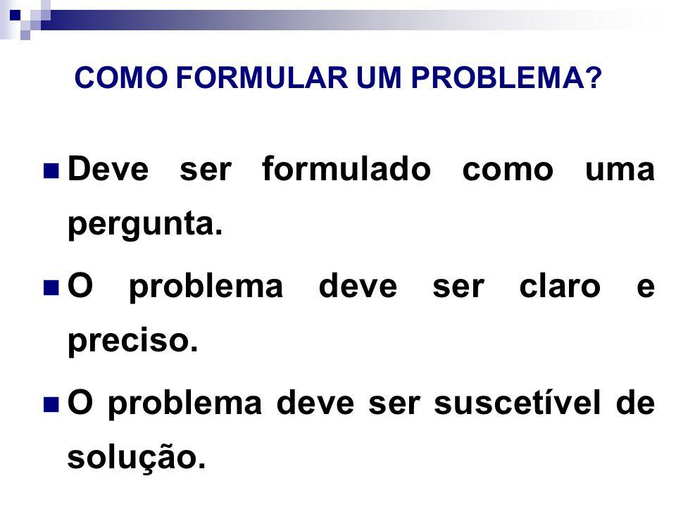 COMO FORMULAR UM PROBLEMA.O problema deve ser limitado a uma dimensão viável.