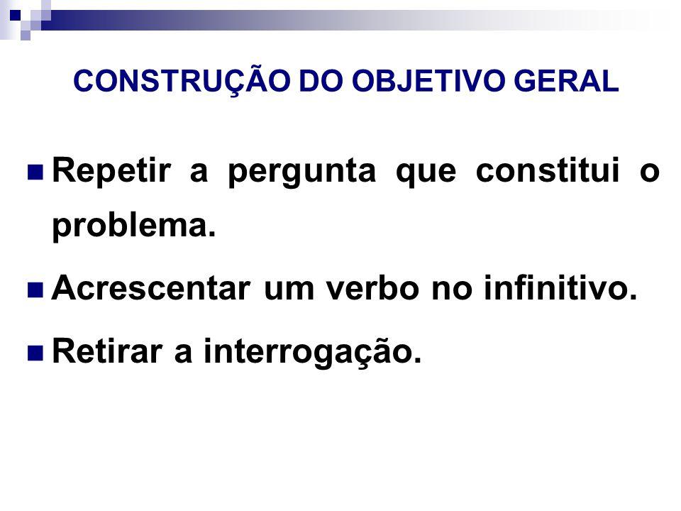 CONSTRUÇÃO DO OBJETIVO GERAL Repetir a pergunta que constitui o problema.