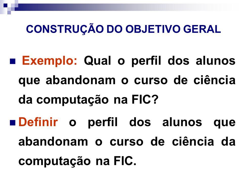 CONSTRUÇÃO DO OBJETIVO GERAL Exemplo: Qual o perfil dos alunos que abandonam o curso de ciência da computação na FIC.
