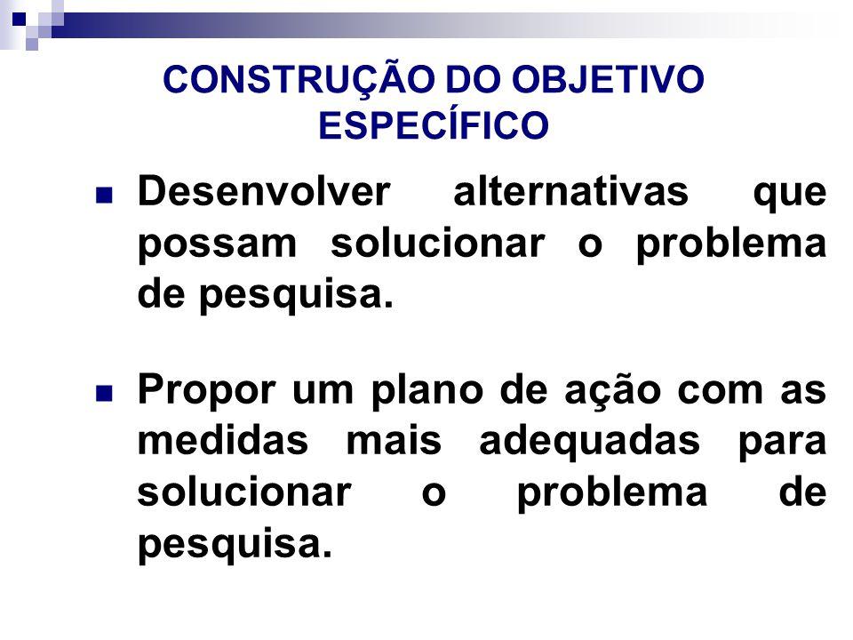 CONSTRUÇÃO DO OBJETIVO ESPECÍFICO Desenvolver alternativas que possam solucionar o problema de pesquisa.