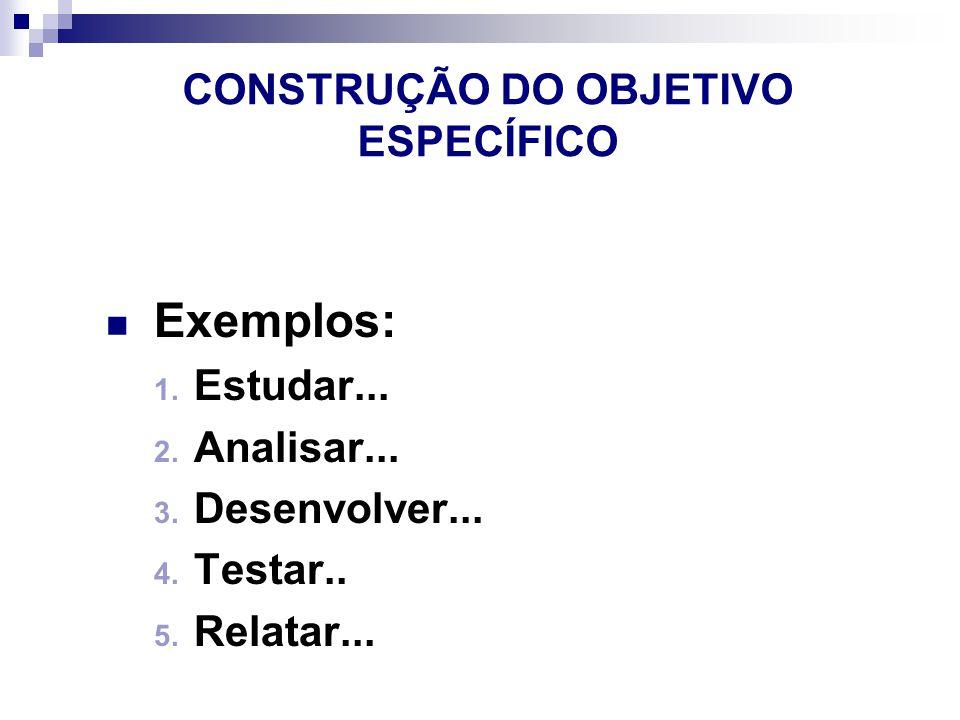 CONSTRUÇÃO DO OBJETIVO ESPECÍFICO Exemplos: 1.Estudar...