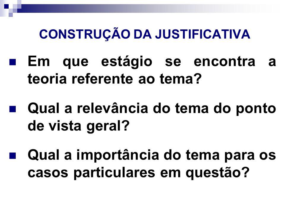 CONSTRUÇÃO DA JUSTIFICATIVA Quais as perspectivas de aplicação científica, tecnológica ou social.