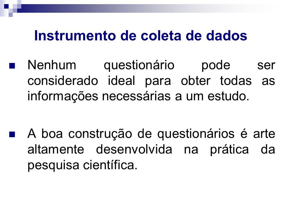 Estrutura básica para levantamento Texto de apresentação do estudo; Seqüência de perguntas  Perguntas introdutórias  Perguntas delicadas  Perguntas Afins Verificação da confiabilidade das respostas.