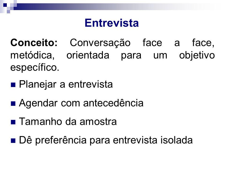 Entrevista Conceito: Conversação face a face, metódica, orientada para um objetivo específico.