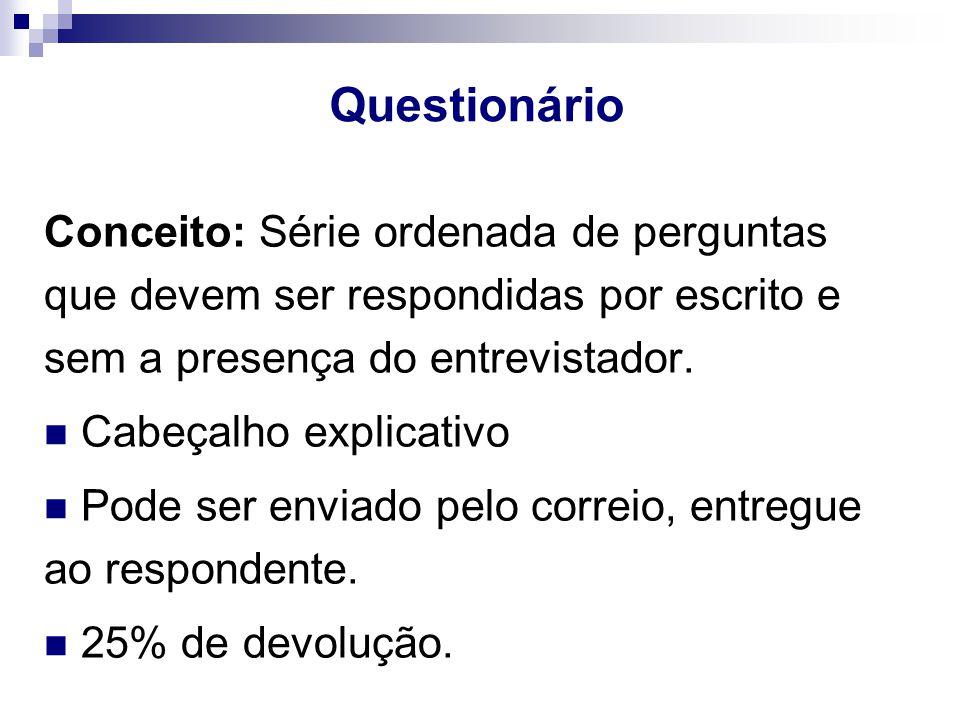Questionário Conceito: Série ordenada de perguntas que devem ser respondidas por escrito e sem a presença do entrevistador.