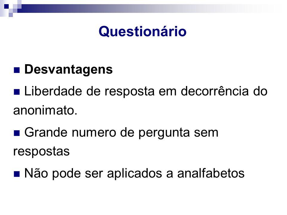 Questionário Desvantagens Liberdade de resposta em decorrência do anonimato.