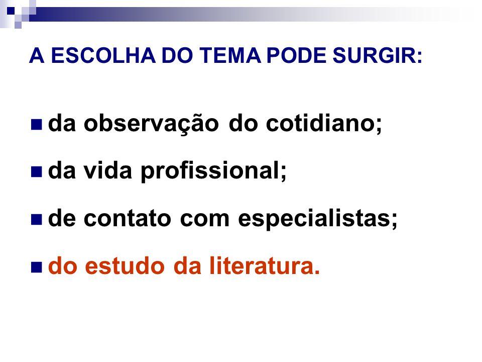 A ESCOLHA DO TEMA PODE SURGIR: da observação do cotidiano; da vida profissional; de contato com especialistas; do estudo da literatura.