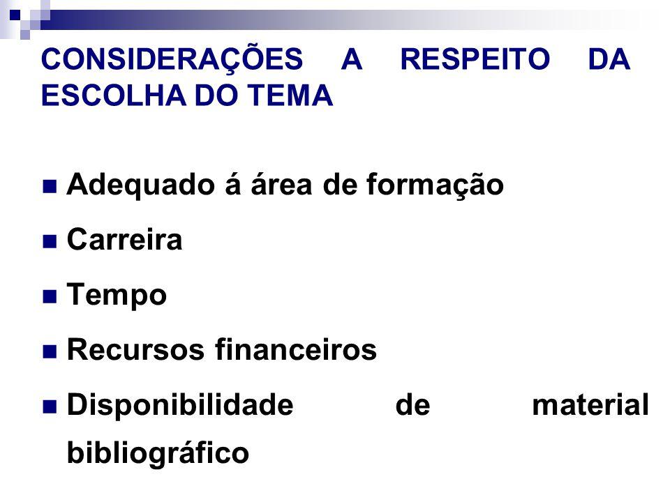 CONSIDERAÇÕES A RESPEITO DA ESCOLHA DO TEMA Adequado á área de formação Carreira Tempo Recursos financeiros Disponibilidade de material bibliográfico