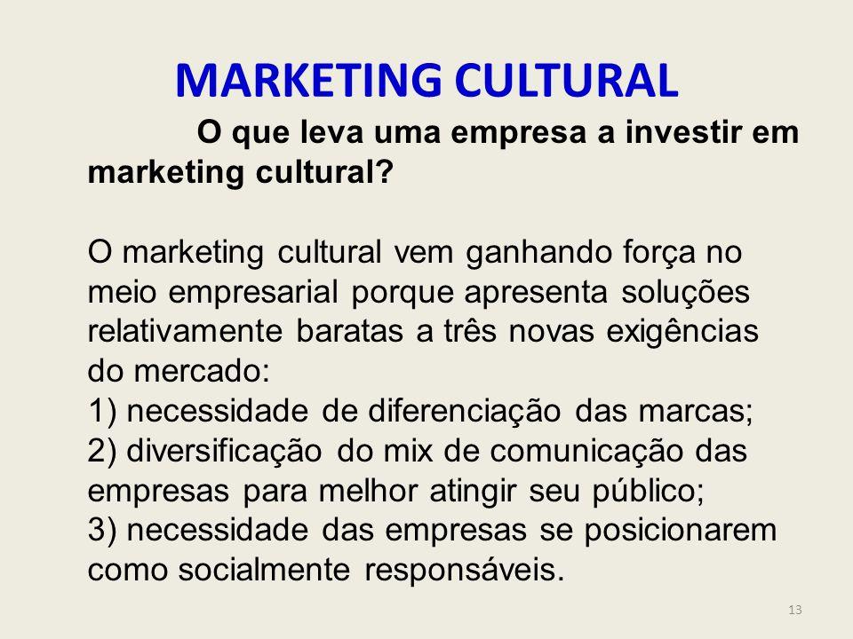 MARKETING CULTURAL O que leva uma empresa a investir em marketing cultural? O marketing cultural vem ganhando força no meio empresarial porque apresen