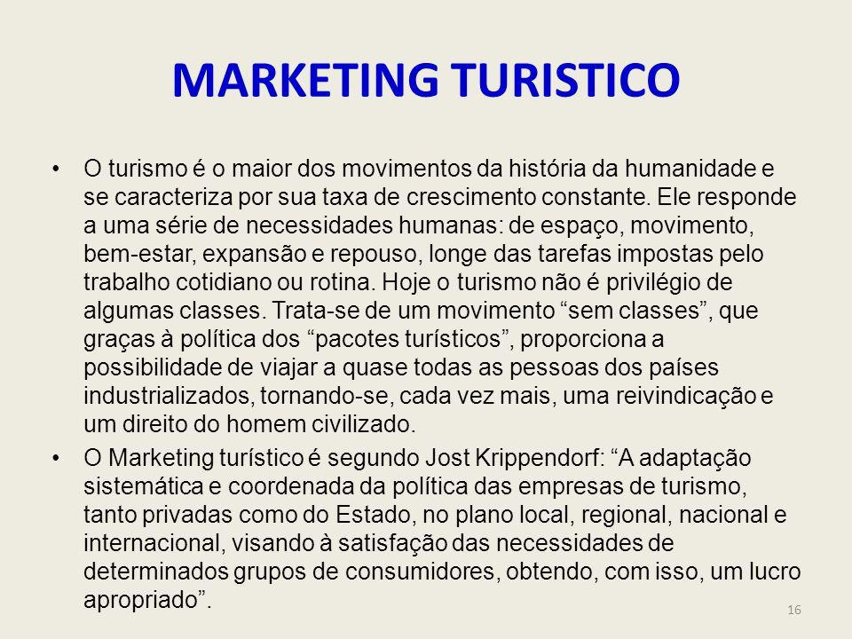 MARKETING TURISTICO O turismo é o maior dos movimentos da história da humanidade e se caracteriza por sua taxa de crescimento constante. Ele responde